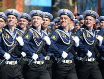 The cadets of the Pacific higher naval school imeni S. O. Makarov on the General parade rehearsal in red square in honor of Victor Stock Images