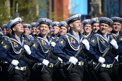 The cadets of the Pacific higher naval school imeni S. O. Makarov on the General parade rehearsal in red square in honor of Victor Stock Image