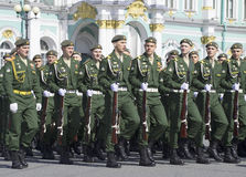 Cadets on parade rehearsal in honor of Victory day. St. Petersburg Royalty Free Stock Photos