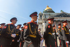 Cadets participants of Russian Army Parade Victory Day - May 9 Stock Images