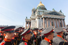 Cadets participants of Russian Army Parade Victory Day - May 9 Royalty Free Stock Images
