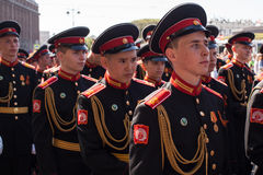 Cadets participants of Russian Army Parade Victory Day Stock Image