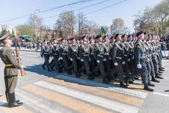 Cadets of police academy marching on parade Royalty Free Stock Image