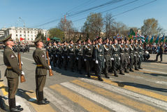Cadets of police academy marching on parade Stock Photography