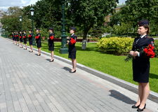 Cadets police with flowers in Day of memory and grief. Stock Image