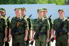 The cadets in the ranks during a the oath. Conscripts (recruits) and cadets swear allegiance to the Motherland. Russia, Moscow region Royalty Free Stock Photo