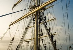 Training of cadets climbing the rigging. royalty free stock photos
