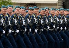 Cadets of the Ryazan Airborne Command School during the dress rehearsal of the parade on Red Square in honor of the Victory Day. MOSCOW, RUSSIA MAY 6, 2018 royalty free stock photography