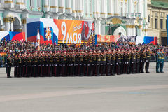 Cadets of the Suvorov military school in the ranks on parade rehearsal in honor of Victory Day Royalty Free Stock Photography