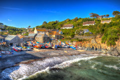 Cadgwith Cornwall fishing village on the Lizard Heritage coast South West England like painting in HDR Royalty Free Stock Photos