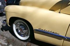 Cadillac, American car of the 1940s, Model 62 Coupe Yoga Mat, 1947.Rarity Hamburg, Germany. Cadillac, vanilla yellow. American car of the 1940s.  Model 62 Coupe Royalty Free Stock Image