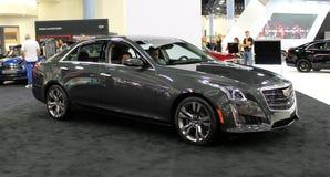 Cadillac 2015. Black Cadillac 2015 in auto show miami beach, side view Royalty Free Stock Photo