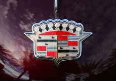 Cadillac Classic Chrome Crest Badge. On the hood of a late 1940`s Fleetwood Stock Photo