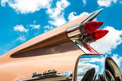 Cadillac Coupe de Ville Fin. The tailfin and rear corner of a classic 1959 Cadillac Coupe de Ville. As seen at Classics on the Square, a car show at Celebration Stock Photos