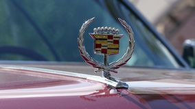 Cadillac emblem on hood of oldtimer car stock video footage