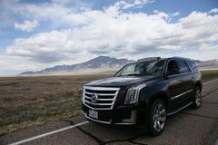 Cadillac ESCALADE in de wildernis Royalty-vrije Stock Afbeeldingen