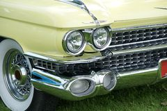 Cadillac Front End. Closeup of the front view of the 1959 Cadillac Convertible Serie 62 Stock Photo