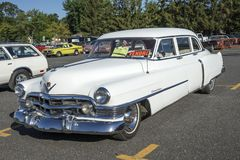 1950 cadillac limousine for sale. Granby international car show, July 28-29-30 2017 royalty free stock photo