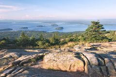 Cadillac Mountain, Acadia. Late afternoon on colorful rock formations dfom the top of Cadillac Mountain, captured in Acadia National Park in Maine Royalty Free Stock Photography