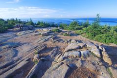 Cadillac Mountain, Acadia. Late afternoon shadows on colorful granite rock cliffs, captured from the top Cadillac Mountain in Acadia National Park in Maine Royalty Free Stock Images