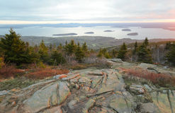Cadillac Mountain sunset view of Bar Harbor Stock Photography