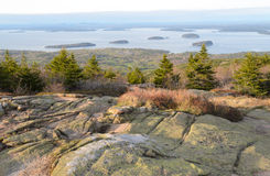 Cadillac Mountain sunset view of Bar Harbor Royalty Free Stock Image