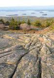 Cadillac Mountain sunset view of Bar Harbor Stock Images