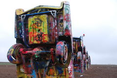 Cadillac Ranch. Brightly painted Cadillacs are buried in the ground at the famous landmark of Cadillac Ranch along historic Route 66 near Amarillo, Texas Stock Image