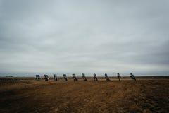 The Cadillac Ranch, along Historic Route 66 in Amarillo, Texas. Stock Photos