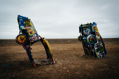 The Cadillac Ranch, along Historic Route 66 in Amarillo, Texas. Royalty Free Stock Photography