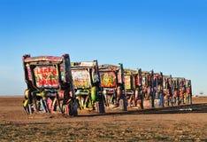 Cadillac-Ranch, Amarillio, Texas USA stockfotos