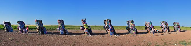 Cadillac-Ranch in Amarillo, Texas stockfotos