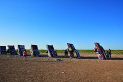 Cadillac Ranch in Amarillo, Texas. Amarillo, Texas - July 21, 2017 : Cadillac Ranch in Amarillo. Cadillac Ranch is a public art installation of old car wrecks Royalty Free Stock Image
