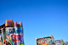 Cadillac Ranch in Amarillo, Texas. Royalty Free Stock Images
