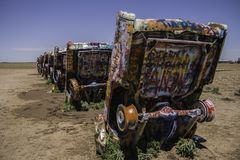 Cadillac Ranch, Amarillo Texas. AMARILLO, TEXAS - JUNE 29, 2007: Famous Cadillac Ranch, public art and sculpture installation created by Chip Lord, Hudson Stock Photo