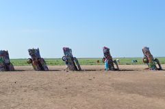 Cadillac Ranch Amarillo Texas. This is a picture of Cadillac Ranch in Amarillo, Texas. It is a must visit if you are riding down Interstate 40 or the Historic Stock Photography