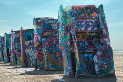Cadillac ranch. Amarillo, Texas. Public art installation and sculpture. created in 1974 by Chip Lord, Hudson Marquez and Doug Michels royalty free stock photography