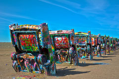 Cadillac ranch. Amarillo, Texas. Public art installation and sculpture. created in 1974 by Chip Lord, Hudson Marquez and Doug Michels stock photo