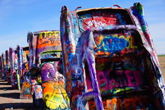 Cadillac Ranch Amarillo Texas. Cadillac Ranch in Amarillo, Texas, was created by a group of Californian artists. it is a group of ten old Cadillac car, half Royalty Free Stock Image