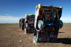 Cadillac-Ranch in Amarillo, TX Stockbilder