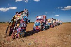 Cadillac-Ranch auf Route 66 in Texas lizenzfreies stockfoto