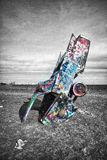 Cadillac Ranch Buried Graffiti Covered Car Royalty Free Stock Images