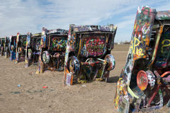 Cadillac Ranch installation in Amarillo, Texas Royalty Free Stock Photo