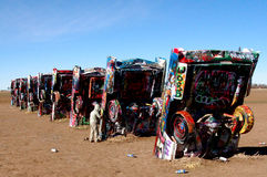 Cadillac Ranch near Amarillo, TX. Buried cars at Cadillac Ranch near Amarillo Texas royalty free stock photography
