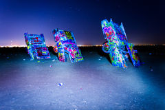 The Cadillac Ranch at night, along Historic Route 66 in Amarillo Stock Photos