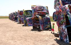 Cadillac ranch public art sculpture Stock Image