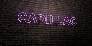 CADILLAC -Realistic Neon Sign on Brick Wall background - 3D rendered royalty free stock image. Can be used for online banner ads and direct mailers Royalty Free Stock Images