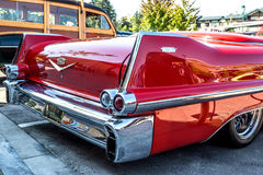 1957 Cadillac rear view. Rear view of a 1957 restored and customized Cadillac at a August, 2014  classic car show in Washington, State Stock Images