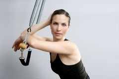 Cadillac trapeze pilates woman fitness sport Royalty Free Stock Image