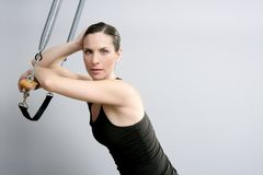 Cadillac trapeze pilates woman portrait Stock Photo